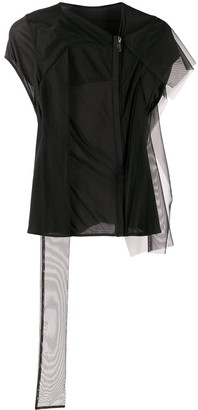 Rick Owens Lilies tulle trim zipped front T-shirt
