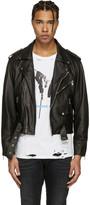 Enfants Riches Deprimes Black Leather Checkerboard Jacket