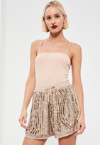 Missguided Nude Premium Sequin Shorts