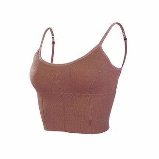 Salalook Summer Padded Crop Tank Suspenders Underwear Big U Vest Comfortable Backing Wrapped Chest No Steel Ring Sports Tube Top Neck Bra Cami Beautiful Back Drawstring Bandeau (Brown One Size)