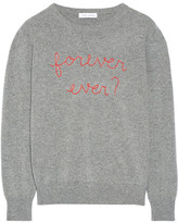 Lingua Franca - Forever Ever? Embroidered Cashmere Sweater - Gray