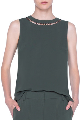 Akris Punto Laser-Cut Chained Crepe Tank Top