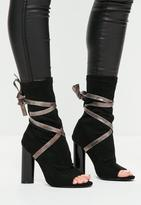 Missguided Ankle Tie Peep Toe Strappy Boots