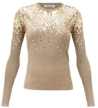 Valentino Sequinned Metallic-knit Ribbed Sweater - Gold