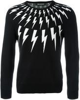 Neil Barrett lightning bolt intarsia jumper