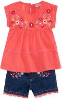 Nannette 2-Pc. Cotton Crinkle Shirt & Shorts Set, Toddler & Little Girls (2T-6X)