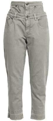 Brunello Cucinelli Cropped Layered High-rise Slim-leg Jeans
