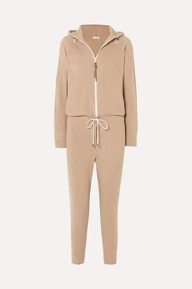 Brunello Cucinelli Bead-embellished Ribbed Cashmere Jumpsuit - Camel