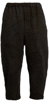BY WALID Patchwork-linen cropped trousers