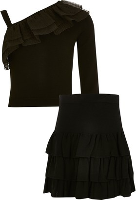 River Island Girls Black knitted frill rara skirt outfit