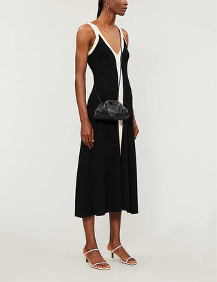 Sandro Naten contrast-trim knitted midi dress
