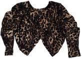 Haute Hippie Cropped Brown & Black Print Cardigan
