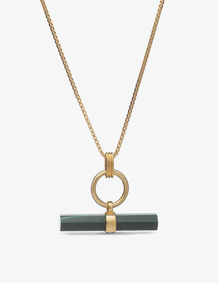 Rachel Jackson T-bar 22ct gold-plated silver and malachite necklace