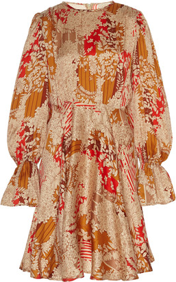By Ti Mo Floral-Print Satin Mini Dress
