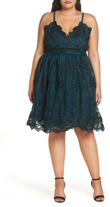 Chi Chi London Embroidered Fit & Flare Dress
