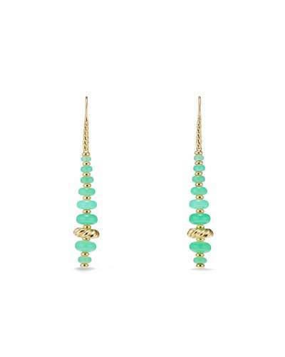 David Yurman 18k Gold Rio Rondelle Drop Earrings in Chrysoprase