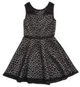 Sally Miller Girl's Geometric Mesh Overlay Dress