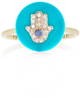 Noush 14ct Yellow Gold Hamsa Ring
