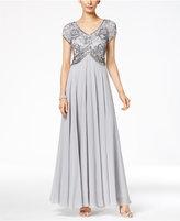 J Kara V-Neck Embellished A-Line Gown