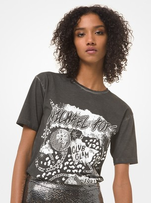 MICHAEL Michael Kors Graphic Logo Cotton-Jersey Boyfriend T-Shirt