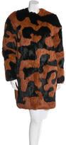 Diane von Furstenberg Abstract Print Fur Coat w/ Tags