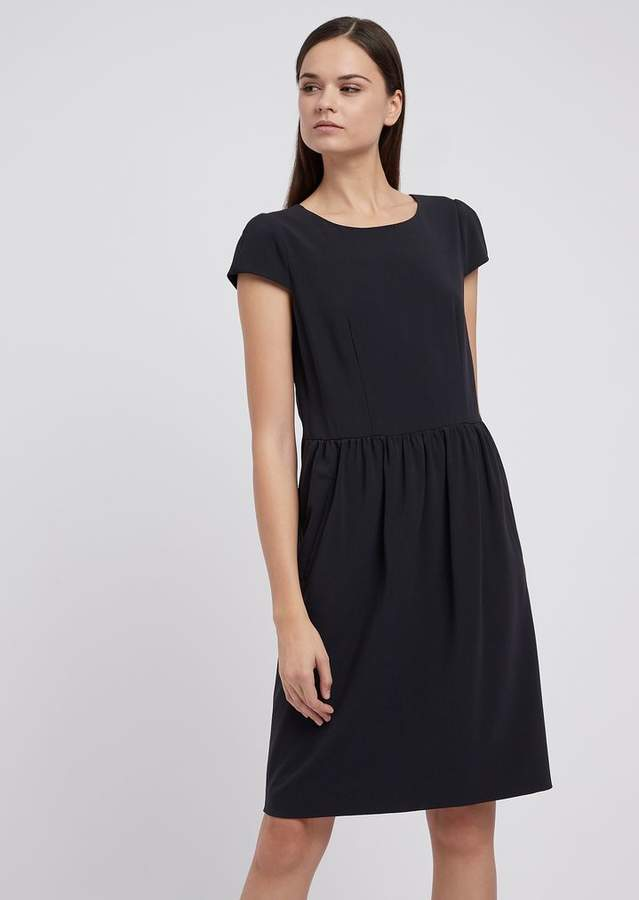 680b074980 Short-Sleeved Dress In Stretch-Wool Crepe