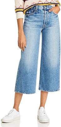 Mother The Tomcat Roller Shorty Wide-Leg Jeans in Take Me Higher
