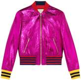 Gucci Metallic Leather Bomber