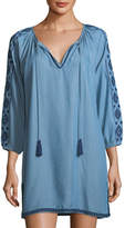 Tommy Bahama Embroidered Split-Neck Chambray Tunic
