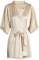 Fleur of England Golden Hour lace-insert silk-blend robe