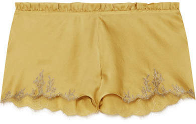 Carine Gilson Flottant Chantilly Lace-trimmed Silk-satin Shorts - Mustard