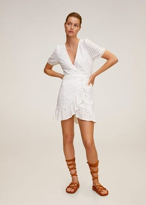 MANGO Laser-cut details dress off white - 4 - Women