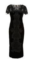 Marchesa Velvet Beaded Cocktail Dress