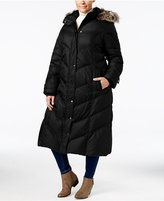 London Fog Plus Size Faux-Fur-Hood Down Puffer Coat