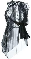Rick Owens Lilies 'Shortsleeve sheer zip' blouse - women - Polyamide/Spandex/Elastane - 40