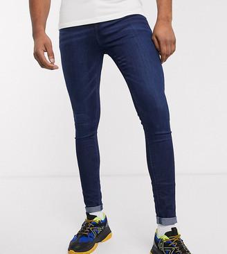 ASOS DESIGN Tall spray on jeans in power stretch denim in dark wash blue