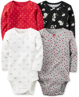 Carter's Baby Girls' 4-Pack Mixed-Print Bodysuits