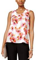 Kasper Petite Printed Pleat Neck Top.