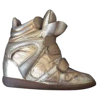 Isabel Marant Gold Leather Trainers