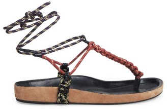 Isabel Marant Loreco Ankle-Wrap Braided Thong Sandals