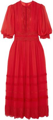 Costarellos Crocheted Lace-trimmed Silk Crepe De Chine Maxi Dress