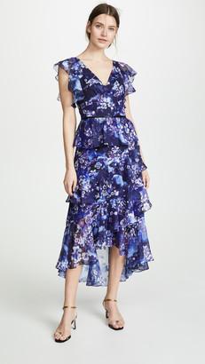 Marchesa Flutter Sleeve V Neck Floral Gown