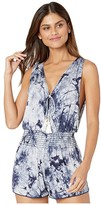 Becca by Rebecca Virtue Tide Pool Tie-Dye Romper Cover-Up (Navy) Women's Swimsuits One Piece
