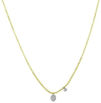Meira T 14K Yellow Gold & Pave Diamond Oval Drop Ball Chain Necklace