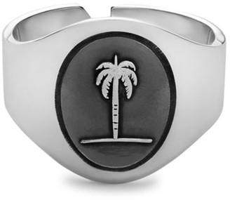 Miansai Sterling Silver Palm Tree Band Ring