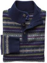 Charles Tyrwhitt Navy Multi Fairisle Button Neck Wool Sweater Size Medium