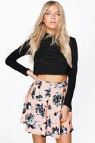 Boohoo Narla Floral Box Pleat Skater Skirt