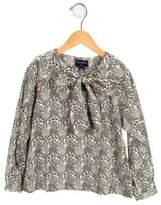 Oscar de la Renta Girls' Floral Print Tie-Accented Top w/ Tags