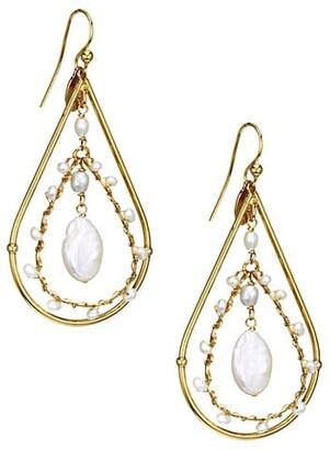 Gas Bijoux Orphee Glass Pearl Teardrop Chandelier Earrings