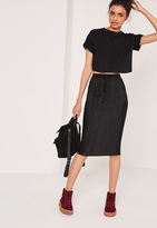 Missguided Crinkle Midi Skirt Black